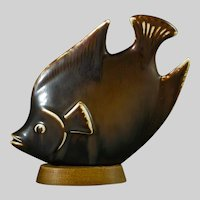 Rorstrand Fish Figure by Gunnar Nylund On A Wooden Base