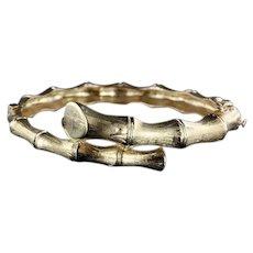 14k Y.G. Hinged Bamboo Design Hinged Bypass Bangle Bracelet