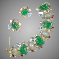ALICE CAVINESS Gemset Emerald Cabochon, Multi-color Crystal, Faux Pearl Bracelet and Clip Earrings Set