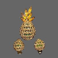 ALICE CAVINESS Blue and Topaz Pineapple Pin and Clip Earrings Set