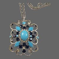 ALICE CAVINESS Turquoise Cabochon, Sapphire and Diamante Rhinestones Pendant Necklace