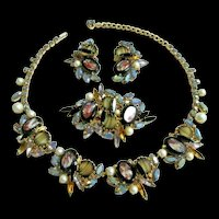 ALICE CAVINESS Multi-color Gem-set Stones, Rhinestones and Pearls Necklace, Pin and Clip Earrings Set