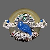 ART DECO 89 Lucite, Diamante Pave and Multi-color Metallic Enamel Bluebird Pin