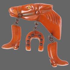 BAKELITE Burnt Orange Equestrian Horse Head Pin w/Cowboy Boots and Horseshoe Charms