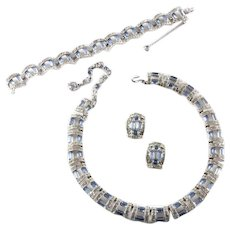 BOGOFF Art Deco Light Blue Baguettes and Pave Arched Linked Necklace, Bracelet and Clip Earrings in Original Case