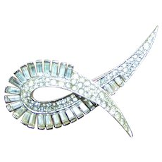 BOUCHER Pave and Baguette Diamante Crystals Deco Pin
