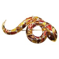 BOUCHER Metallic Enamel and Diamante Snake Pin