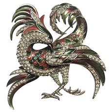 Rare MB BOUCHER Large Enamel and Pave Phoenix/Gryphon/Griffin Pin