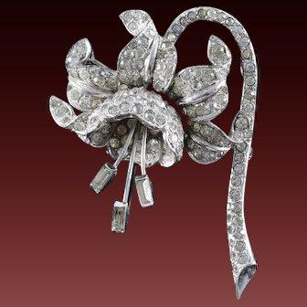 MB BOUCHER Dimensional Diamante and Pave Baguette Stamen Fuchsia Flower Pin