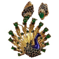 BOUCHER Metallic Blue Enamel, Chrysoprase, Sapphire and Emerald Peacock Pin and Clip Earrings Set
