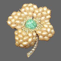 BOUCHER Pave and Pearl Cabochons and Peking Glass Flower Pin