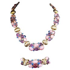 BOUCHER Amethyst and Pink Quartz Cabochons and Sapphires Necklace and Bracelet Set