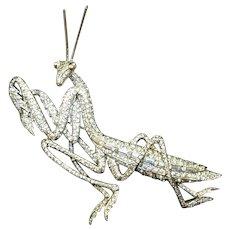 MB BOUCHER Rare Large Pave and Baguette 'Preying/Praying Mantis' Pin