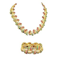 BOUCHER Sapphire, Emerald, Ruby and Diamante Necklace and Stretch Bracelet Set