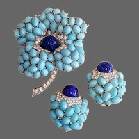 BOUCHER Pave, Lapis Blue and Turquoise Cabochon Flower Pin and Clip Earrings Set