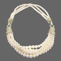 BOUCHER Multi-strand Pearl and Diamante Necklace
