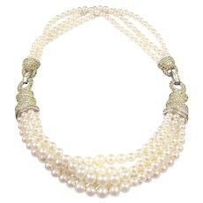 BOUCHER Multi-strand Pearl and Diamante Necklace