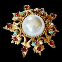 BOUCHER Pearl, Turquoise and Ruby Pin