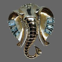 MB BOUCHER Large Sterling Square-Cut Aquamarine and Pave Crystals 'Lucky Elephant' Clip/Pin