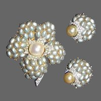 BOUCHER Pave, Pearlized Powder Blue and Pearl Cabochon Flower Pin and Clip Earrings Set