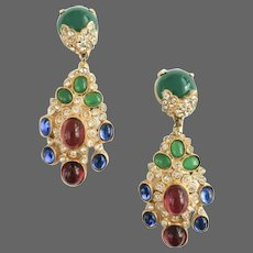 CADORO 'Jewels of India' Chrysoprase, Ruby and Sapphire Cabochons Clip Pendant Earrings