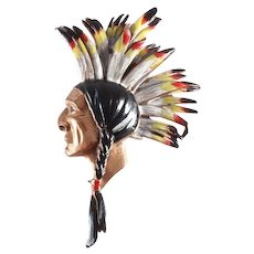 CECIL B. DeMILLE 1940 'North West Mounted Police' Enamel Indian Chief's Head Pin