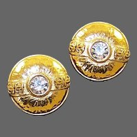 CHANEL France Large Crystal Button Clip Earrings