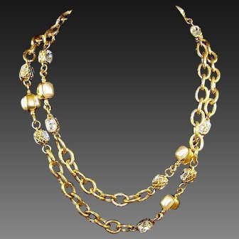 """CHANEL France Gold Double-sided Crystals and Pearls 35"""" Necklace"""