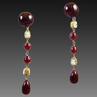 CHANEL France Ruby Red Poured Glass and Double-sided Crystals Pendant Earrings
