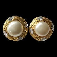 CHANEL France Imitation Mabe Pearl and Crystals 'Quilted' Clip Earrings