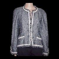 CHANEL Black and White Tweed Boucle Jacket w/ Fringe Detail FR 42 USA 8