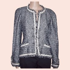 CHANEL Black and White Tweed Boucle Jacket w/ Fringe Detail FR 42 USA 8
