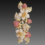 CINER Huge Ruby Red and Diamante Crystals Strawberry Pin