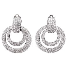 CINER Doorknocker Double Hoop Pave Crystals Clip Earrings