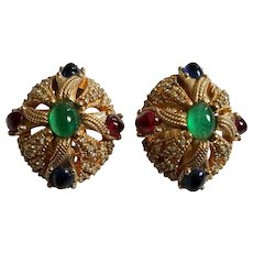 CINER 'Jewels of India' Emerald, Ruby, Sapphire Cabochon and Diamante Clip Earrings