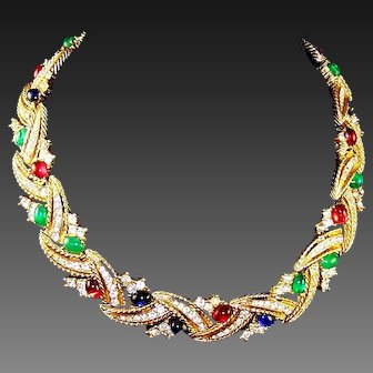 CINER 'Jewels of India' Emerald, Ruby, Sapphire Cabochon and Diamante Necklace