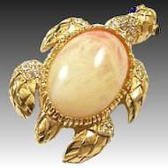 CINER Marbelized Quartz Cabochon Shell and Pave Sea Turtle Pin
