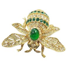 CINER 100th Anniversary Commemorative Emerald Green and Pave Crystals Bee Pin