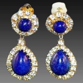 CINER Lapis Cabochon and Clear Crystal Pendant Clip Earrings