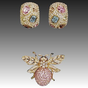 CINER 100th Anniversary Commemorative Pave Crystals Bee Pin and Half-Hoop Clip Earrings