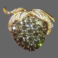 CINER Huge Black Diamond and Pave Strawberry Pin