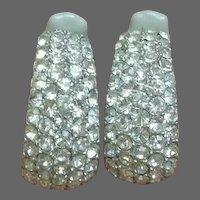 CINER Diamante Pave Crystals Half-hoop Clip Earrings