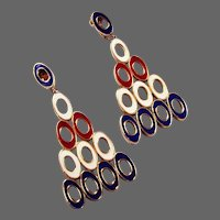 CINER Patriotic Red, White and Blue Enamel Circles Clip Earrings