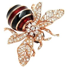 CINER 100th Anniversary Commemorative Enamel and Pave Crystals Bee Pin