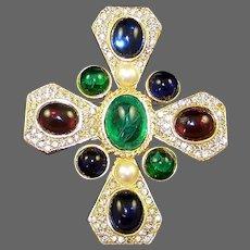 CINER 'Jewels of India' Emerald, Ruby, Sapphire, Pearl Cabochon Maltese Cross Pin/Pendant