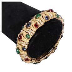 CINER 'Jewels of India' Simulated Ruby, Sapphire, Emerald, Diamond Linked Bracelet