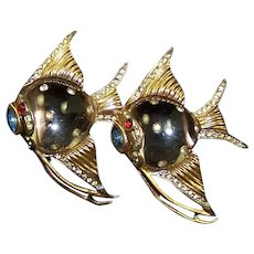 CORO CRAFT COROCRAFT Adolph Katz Sterling Studded Jelly Belly Angelfish Clips/Pins/Duette