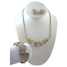 CORO CRAFT COROCRAFT by Vendome Gold and Baguettes Necklace, Bangle Bracelet and Clip Earrings