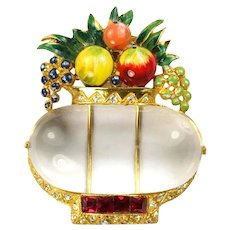 CORO CRAFT COROCRAFT Adolph Katz Enamel Fruits 'Jelly Belly' Lucite Basket Pin/Clip