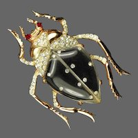 CORO CRAFT COROCRAFT Adolph Katz Sterling Large Studded Lucite Jelly Belly Beetle Pin